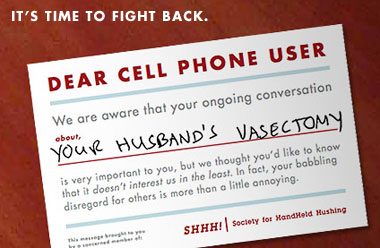 SHHH - cards to handout to rude cell phone users
