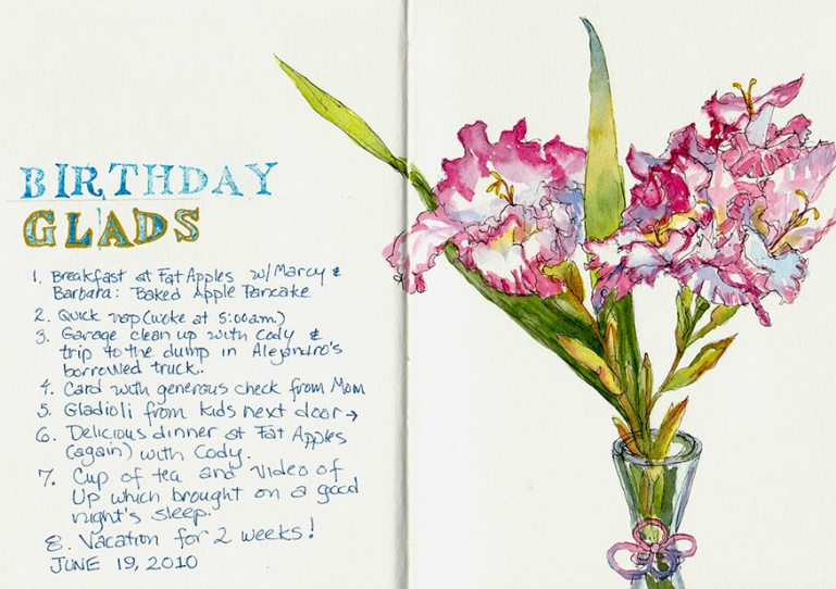 Birthday Glads and Gladioli, ink & watercolor
