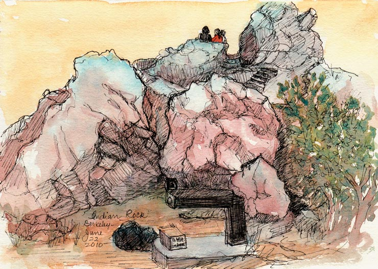 Watching the Sun Set at Indian Rock, Ink & watercolor