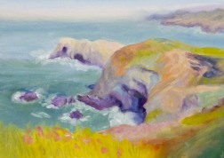 "Marin Headlands oil painting, 5x7"" on Gessobord"