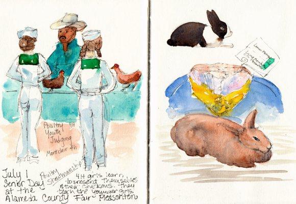 County Fair Sketches, ink & watercolor