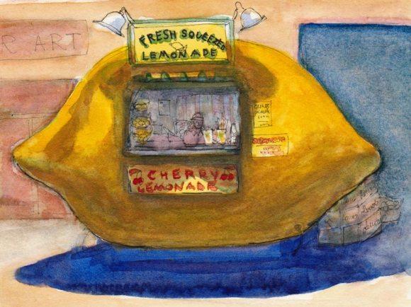 Lemonade stand, ink & watercolor