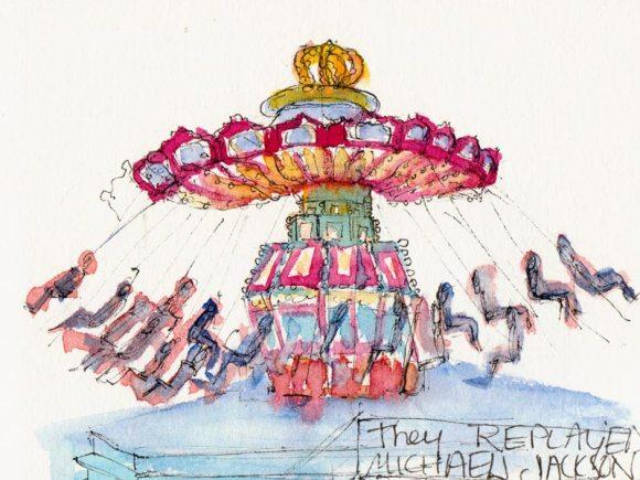 Tilt-A-Whirl, ink & watercolor