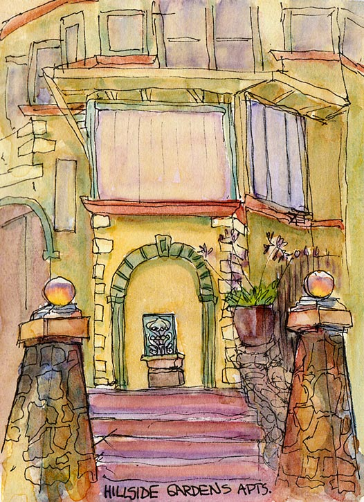 Hillside Gardens Apartments, ink & watercolor