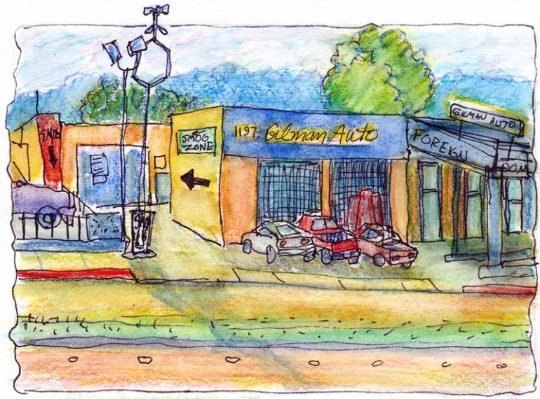 Gilman Auto Berkeley, ink & watercolor pencil