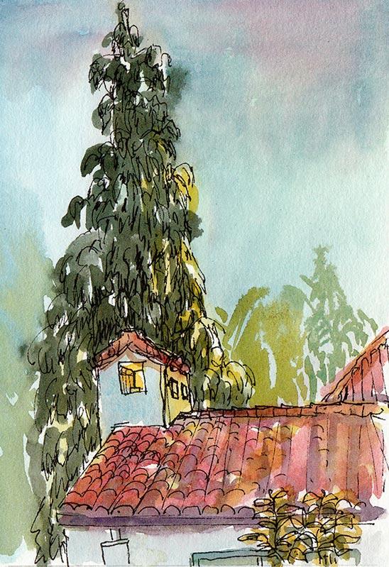 Clark Kerr at Sunset, ink & watercolor