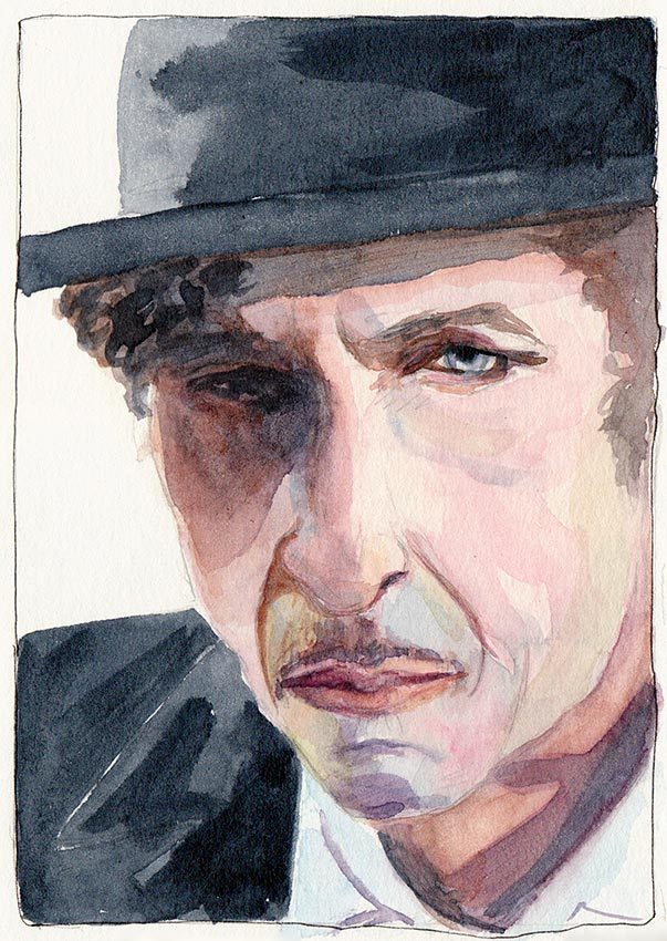 Bob Dylan, watercolor