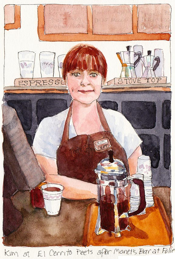 Peet's Coffee after Manet, Ink & watercolor