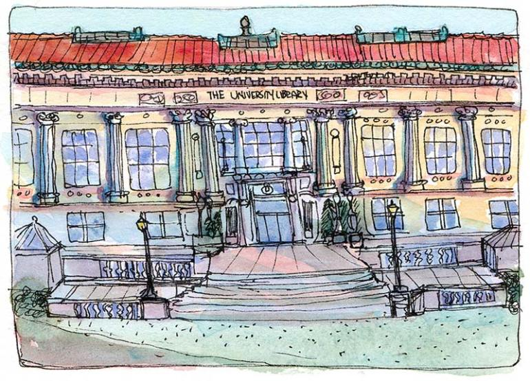 UC Berkeley Library at Sunset, ink & watercolor