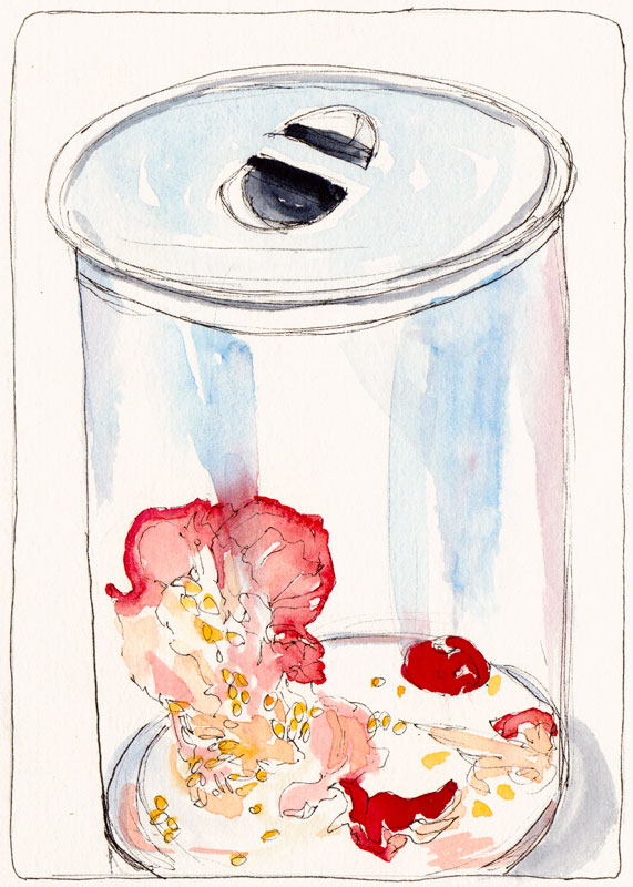 TTonight's Compost, ink & watercolor (& Bleach!)