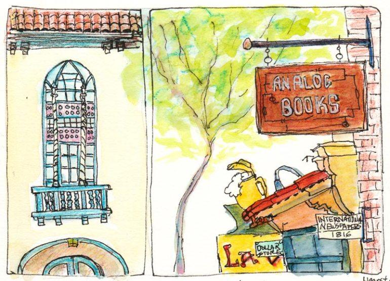 Northside Berkeley (Hearst & Ridge), Ink, watercolor, colored pencils