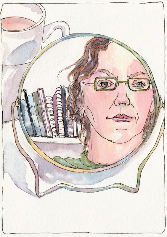 Self Portrait with Sketchbooks and Tea, ink & watercolor