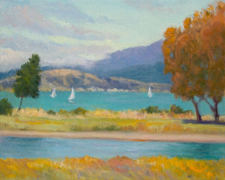 """Lifting Fog, oil on canvas panel, 8x10"""" (plein air painting finished in studio)"""