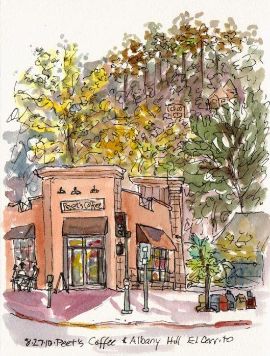 Peet's Coffee El Cerrito and Albany Hill, ink & watercolor