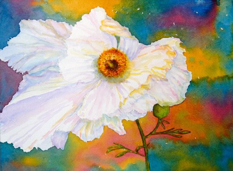 "Matalija Poppy, Watercolor 9x12"""
