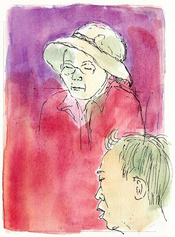 Elderly Asian couple, ink & watercolor