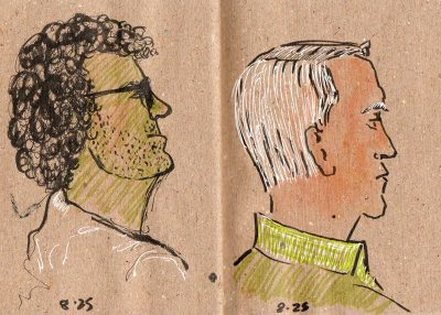 Two guys in green, ink & colored pencil
