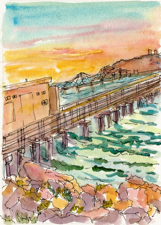 Men's Bathroom on the Pier at Sunset, ink & watercolor
