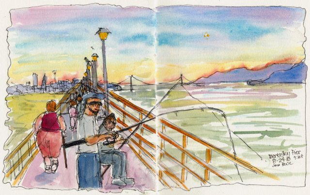 Fishing & Strolling the Pier, ink & watercolor