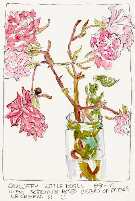 Scruffy Roses Instead of Ice Cream, ink & watercolor