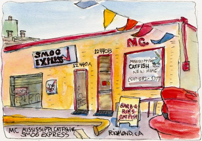 Mississippi Catfish and Smog Express, ink & watercolor