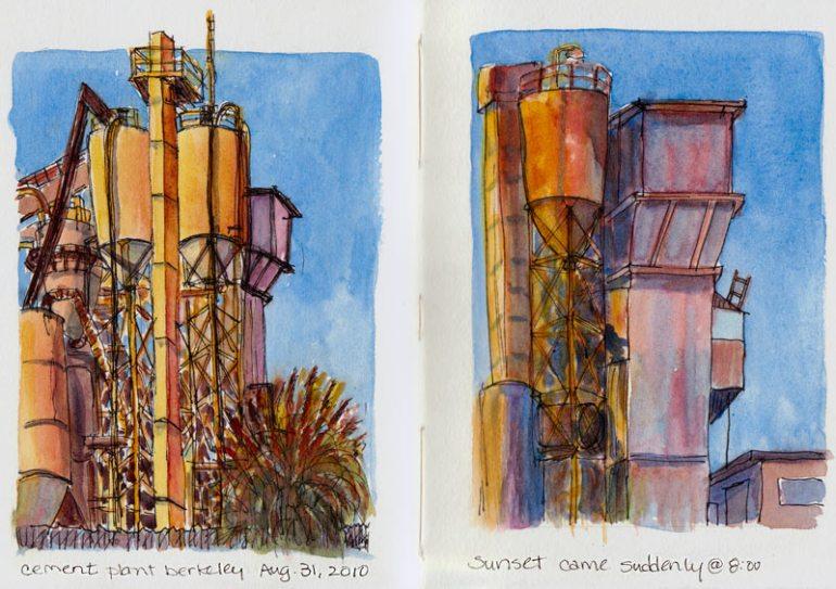 Cement Plant at 2nd & Virginia, Berkeley; ink & watercolor