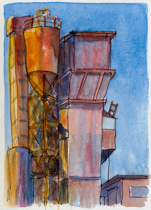 Berkeley Cement Plant #2, ink & watercolor
