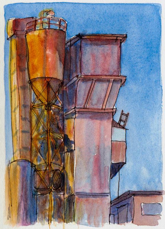 Berkeley Cement Plant #2, ink & watercolor