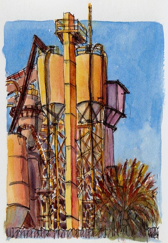 Berkeley Cement Plant 1, ink & watercolor