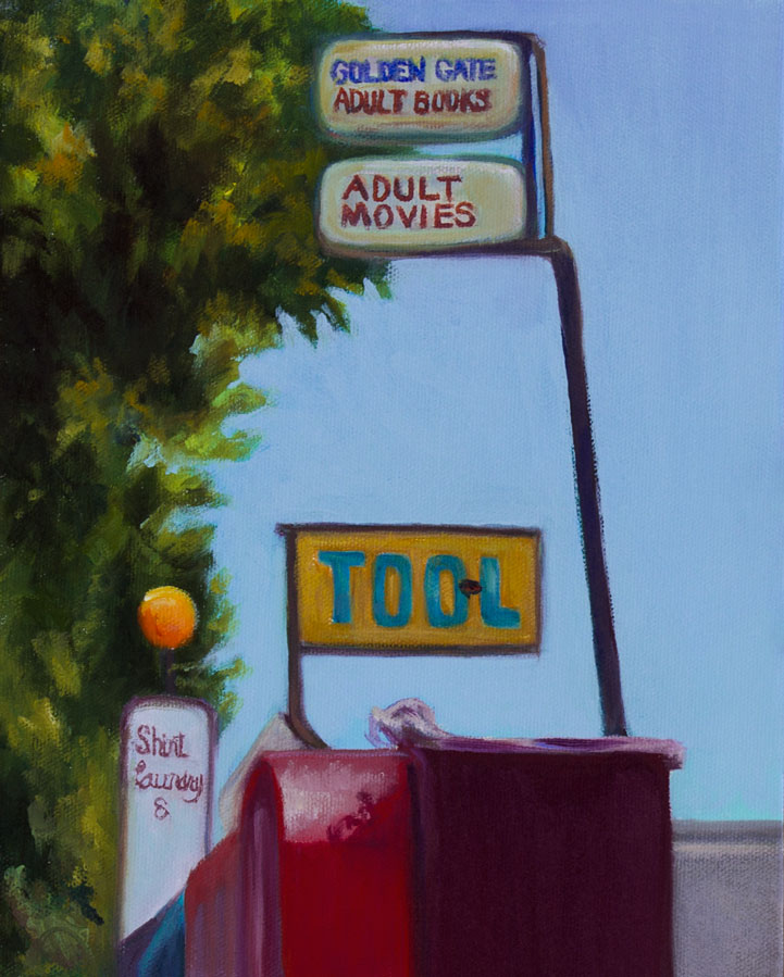 TOOL Adult Books and Movies, oil on panel, 10x8""