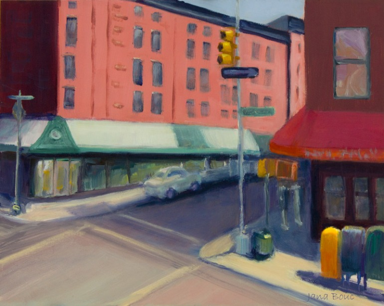 "Bleecker and Sullivan Streets, New York; Oil on Panel, 8""x10"""