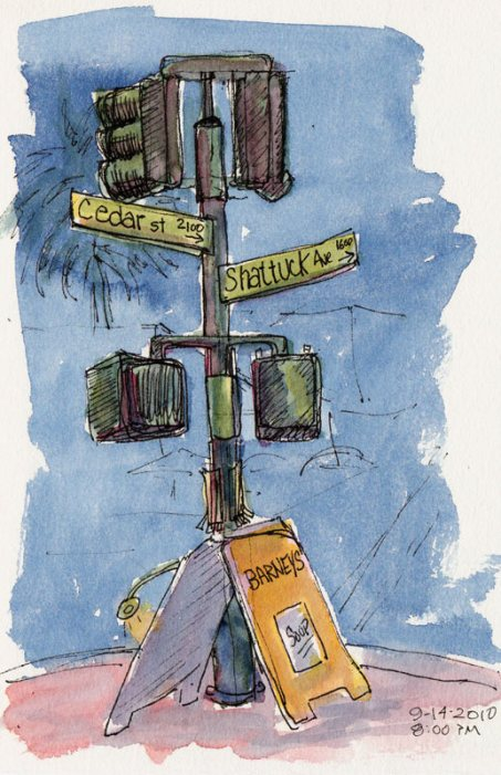 Cedar & Shattuck corner signs, ink & watercolor