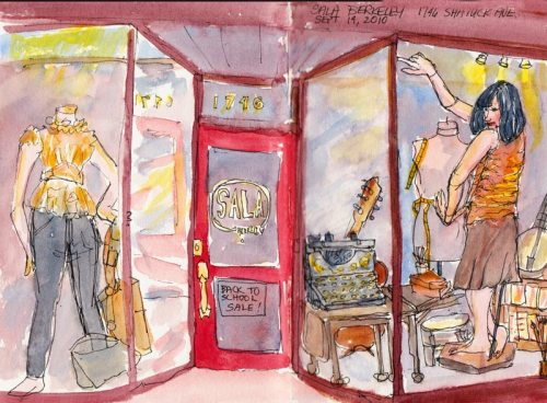 Sala Berkeley Back to School Sale Window, ink & watercolor