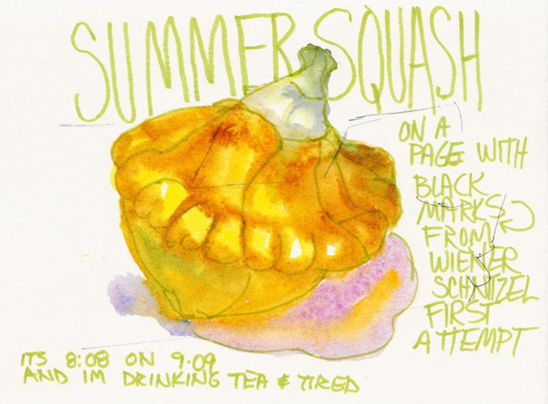 Summer Squash on a Messed Up Page, brush pen & watercolor