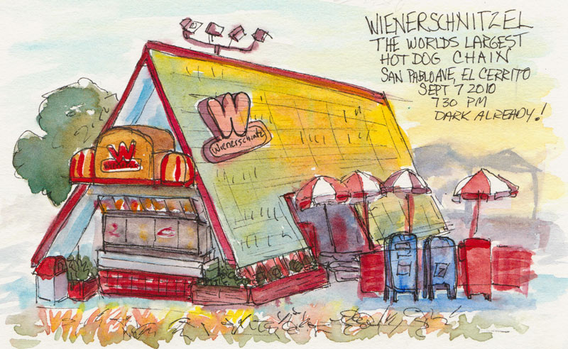 Wienerschnitzel, El Cerrito, Ink & watercolor