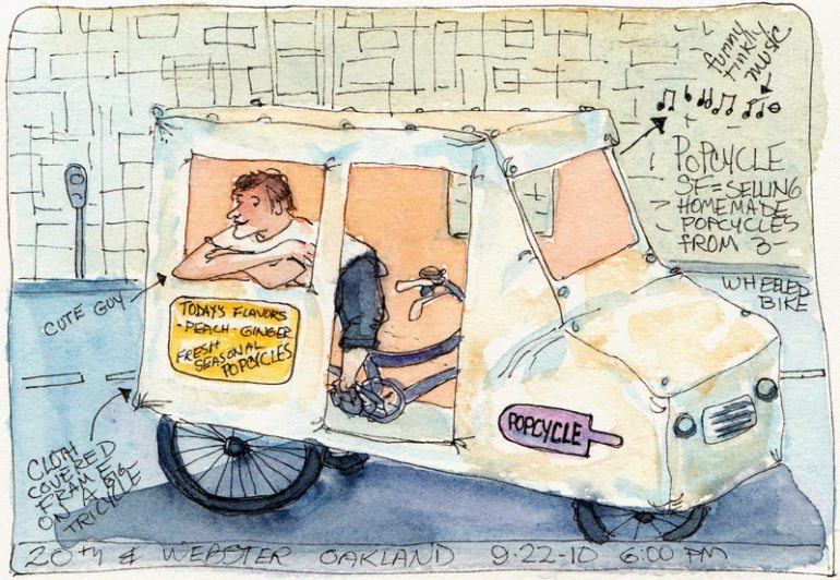 Popcycle SF in Downtown Oakland, ink & watercolor