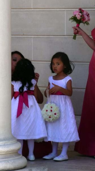 Getting the flower girls ready