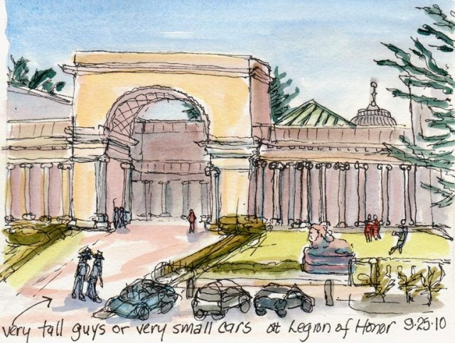 Legion of Honor, SF, Ink & watercolor