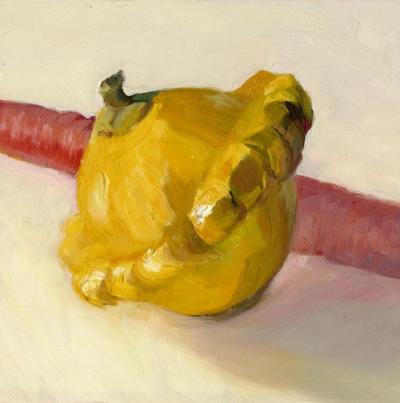 Summer Squash, Tired Carrot, oil on panel, 8x8""