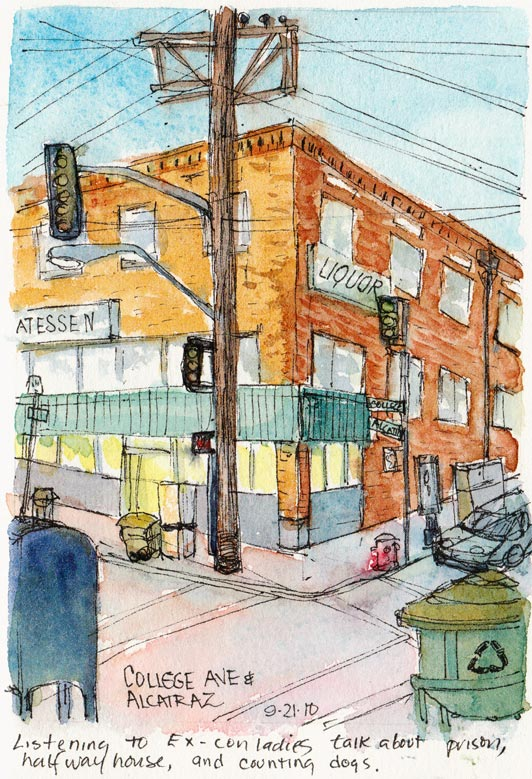 Alcatraz Liquor Deli, Berkeley; Ink & watercolor