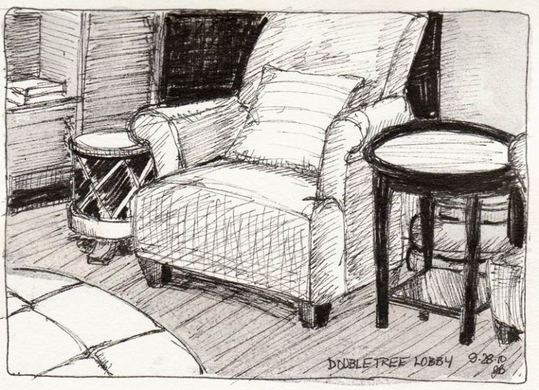 Doubletree Lobby Chairs, Ink & watercolor