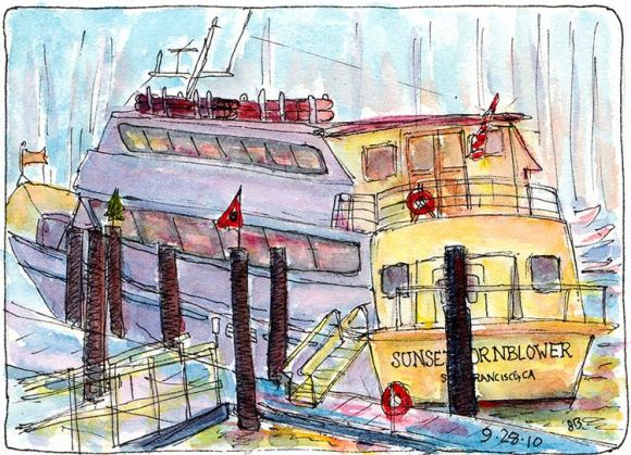 Sunset Hornblower, Berkeley, Ink & watercolor