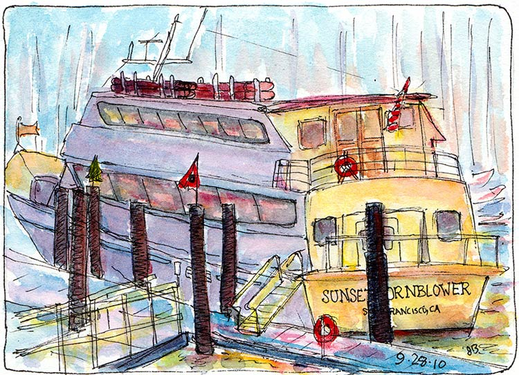 Sunset Hornblower, Berkeley, Ink & watercolor