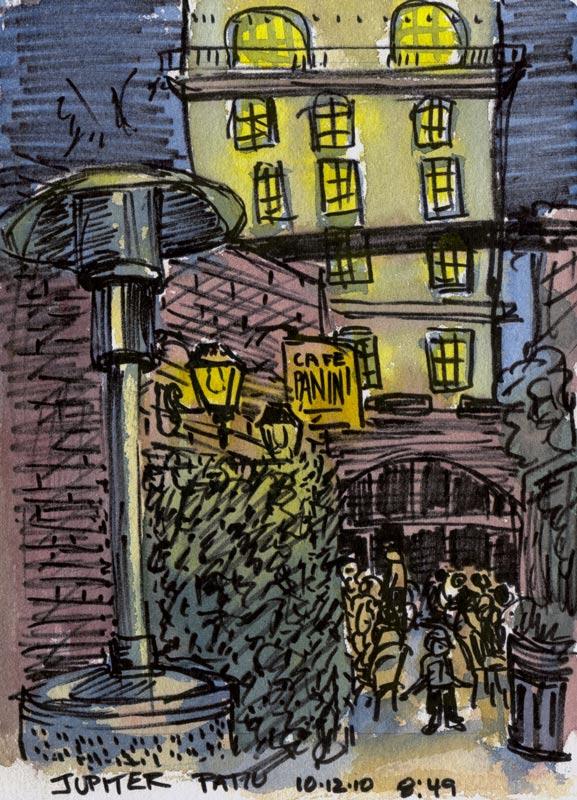 Jupiter Pub, Pitt Artist Brush pen & watercolor