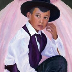 Quinceanera Party Boy, oil on panel, 14x11""
