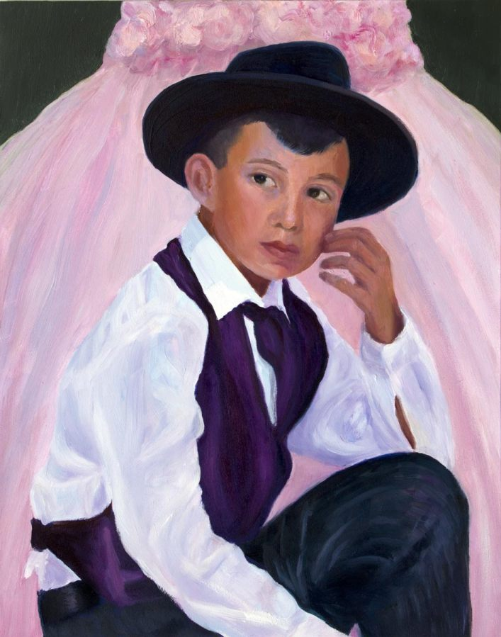 """Quinceanera Party Boy, oil on panel, 14x11"""""""