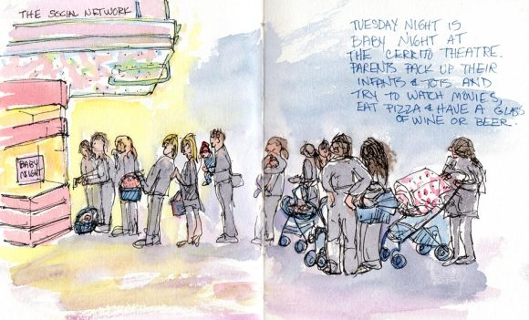 Baby Night at the Cerrito Theater, ink & watercolor
