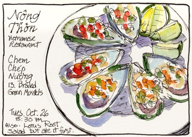 Green Mussels at Nong Thon, ink & watercolor