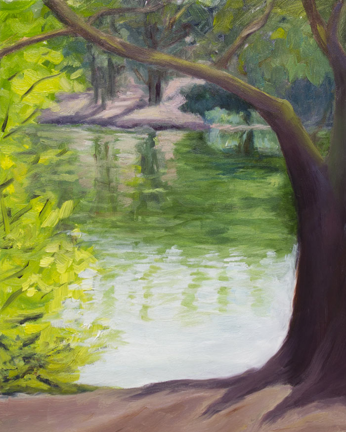 Grey Day at Lake Anza, plein air (mostly) oil on Gessoboard, 10x8""