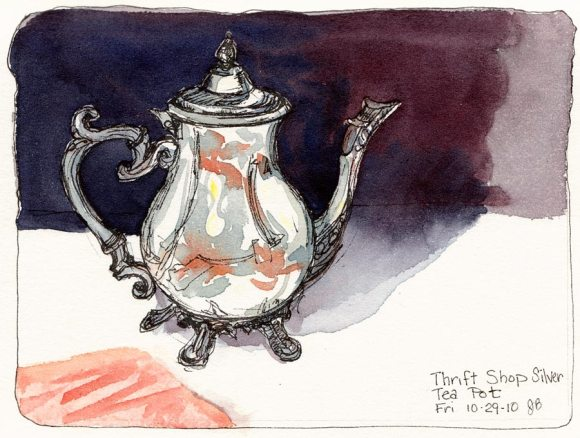 Silver Thrift Shop Teapot, ink & watercolor